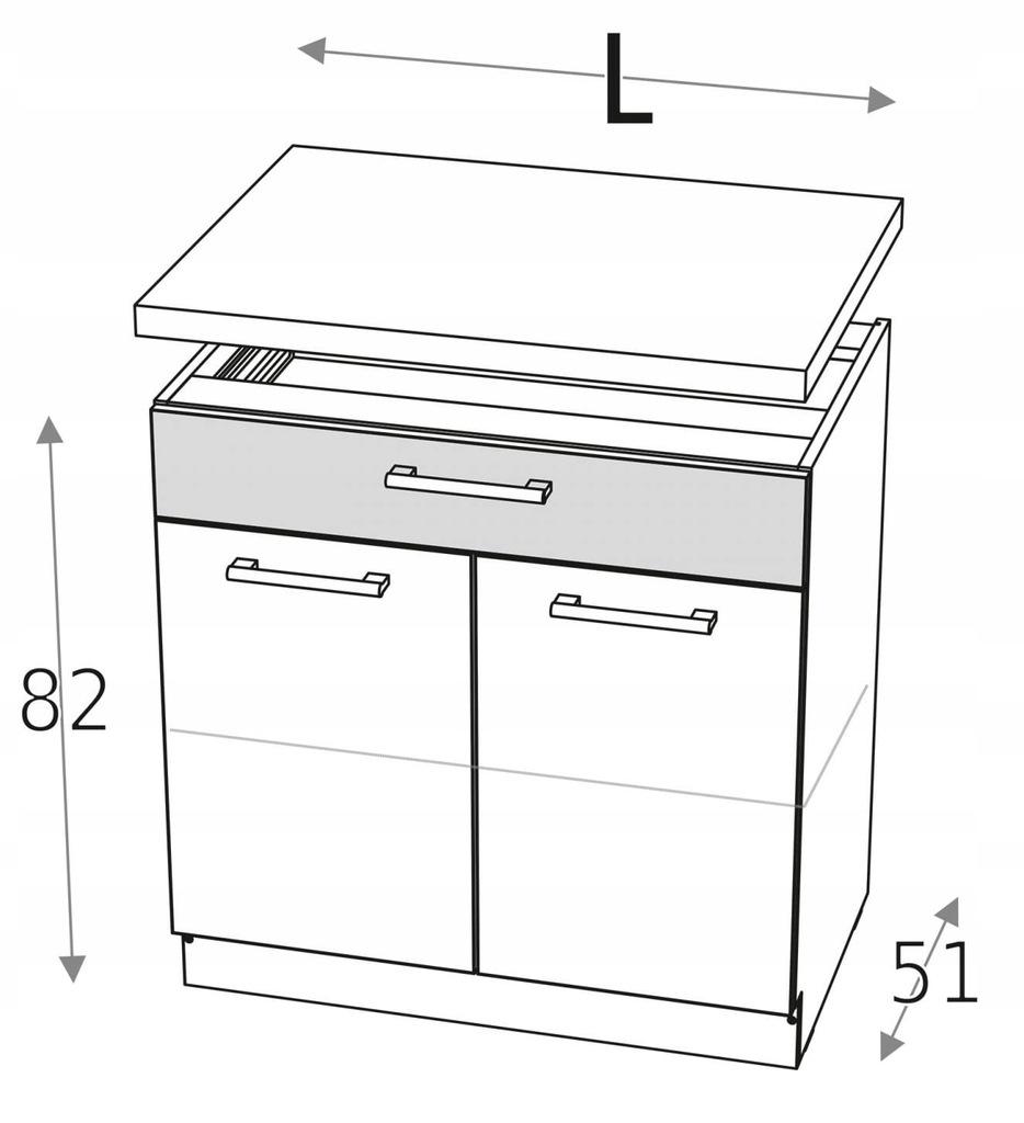 Нижний шкаф 90 см с 2 дверцами и ящиком KD + столешница