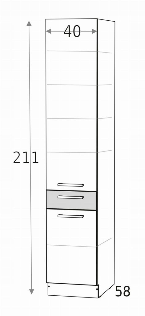 Нижний шкаф, колонна, кладовая, ящик и 2 дверцы KD