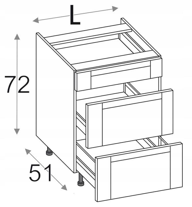 КУХНЯ OLIVIA SOFT с 3 ящиками 60 см