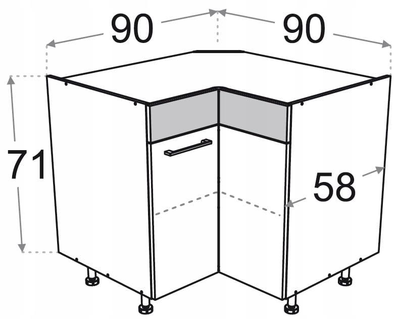 Угловой шкаф 90 X 90 см P / L Kamduo ML