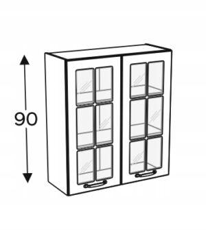 Высокий шкаф со стеклянной витриной 80 см KAMMONO F4F5F7