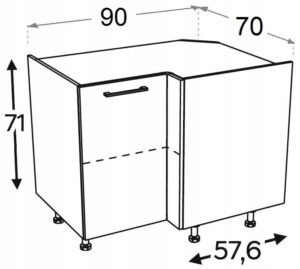 Шкаф кухонный угловой 100x70 KAMMONO F4F5F7