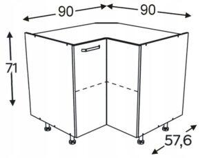 Шкаф угловой универсальный 90/90 см KAMMONO F4F5F7