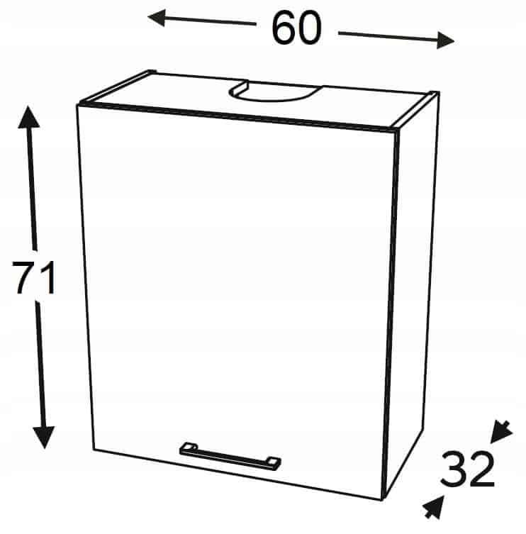 Шкаф навесной карниз 60 см KAMMONO P2, K2