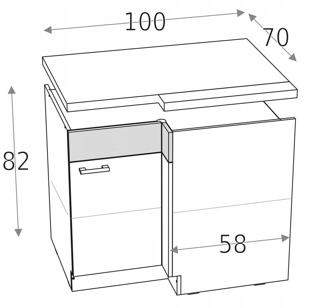 Нижний угловой шкаф с 1 складной дверцей 100 x 70 KD