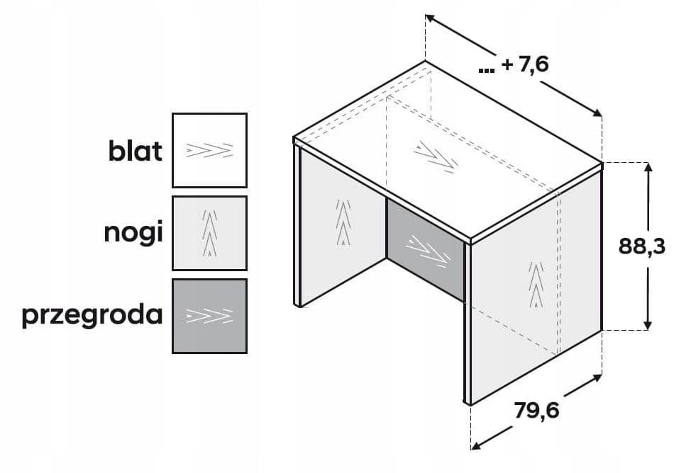 Кухонный остров 90 см ZW6L8P90 P2 столешница, форма 3.6