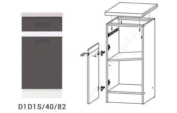 JUNONA LINE 170 Кухня серый/белый глянец BRW