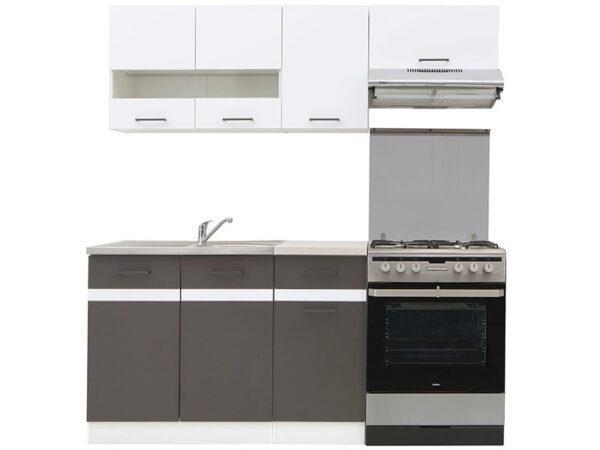 JUNONA LINE 180 Кухня серый/белый глянец BRW