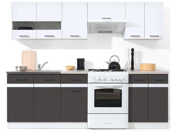 JUNONA LINE 240 Кухня серый/белый глянец BRW