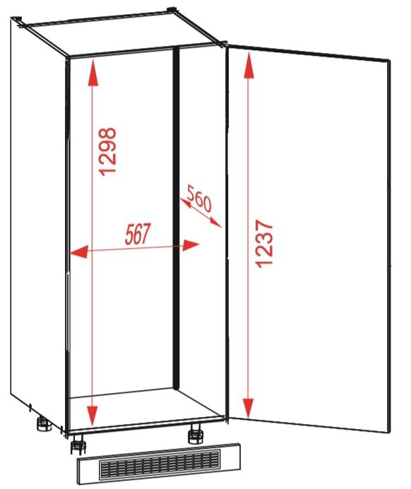 Нижний бытовой шкаф DL 60/143 P / L