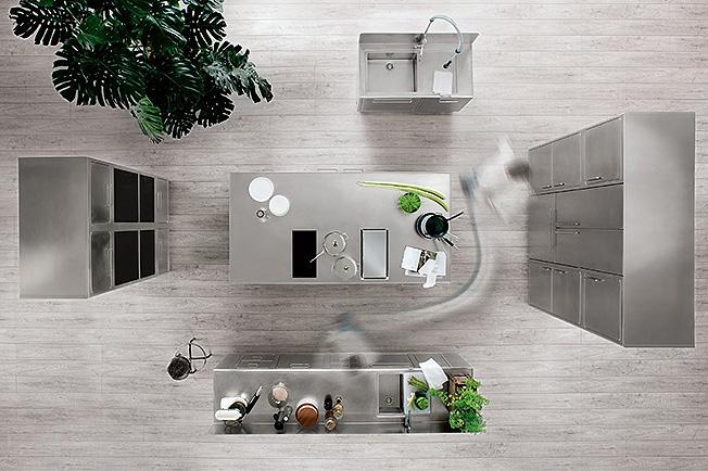 Стальная кухня: индустриальный шик от Abimis